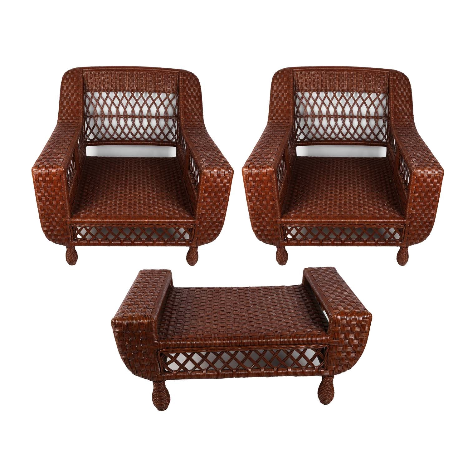Woven Rattan Club Chairs and Ottoman