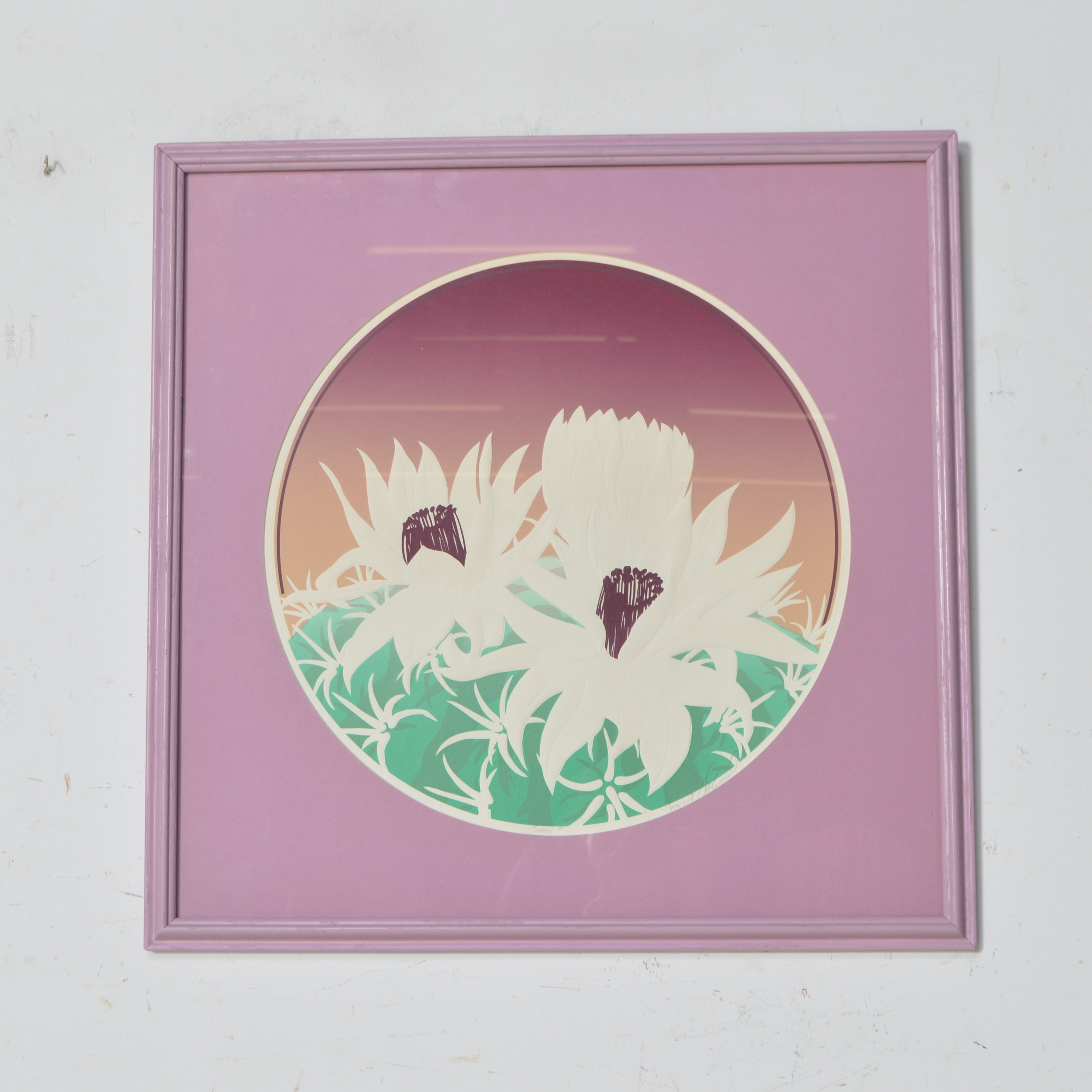 Signed Embossed Serigraph of Water Lilies