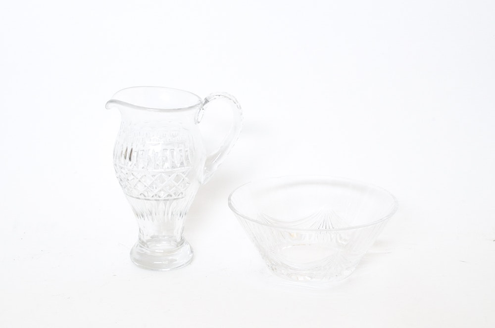 Glass Pitcher and Bowl