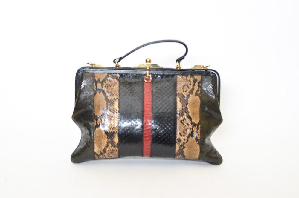 Vintage Handbag with Snakeskin
