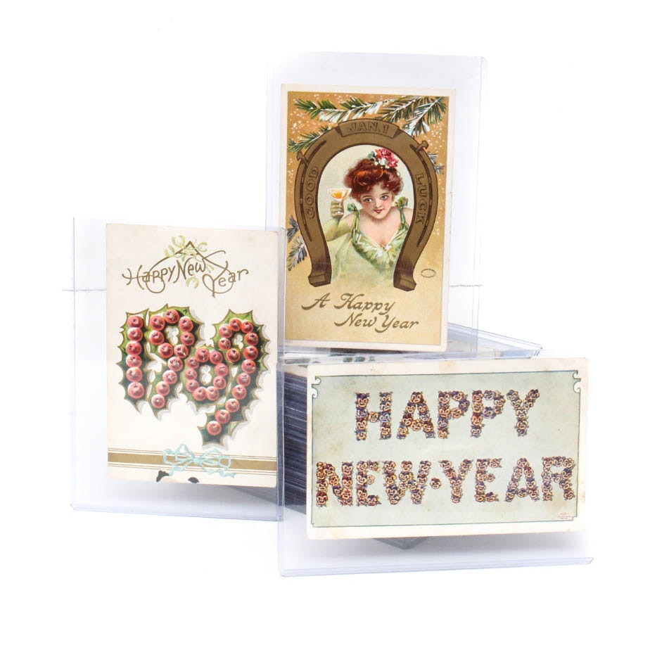 Antique New Years Postcard Collection