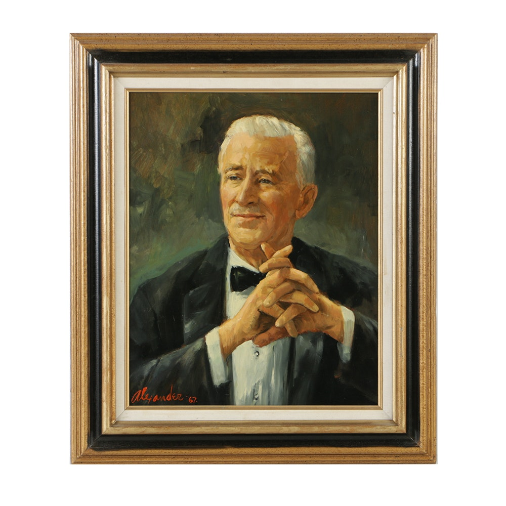 Alexander Oil Portrait on Board of Older Gentleman