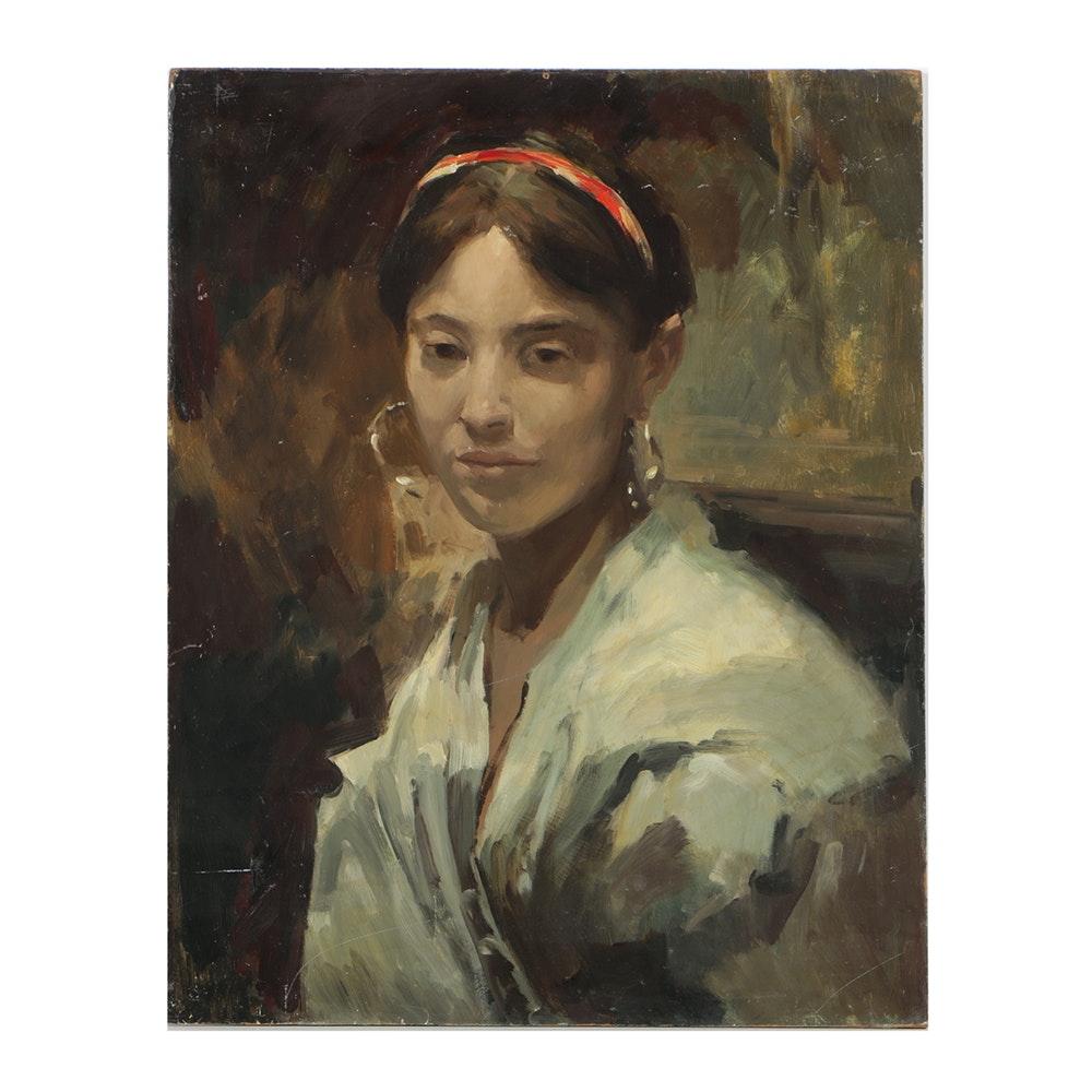 Oil Portrait on Board of Woman