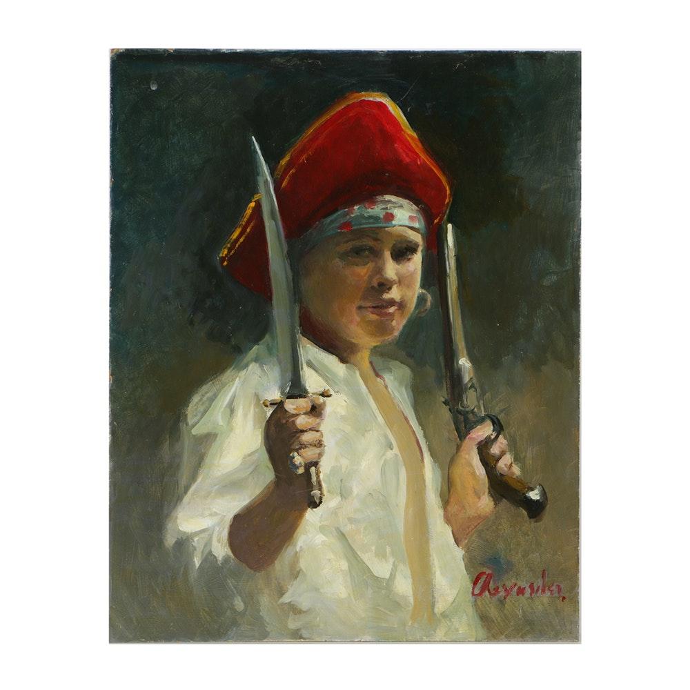 Alexander Oil Portrait on Canvas Board of Figure in Pirate Dress