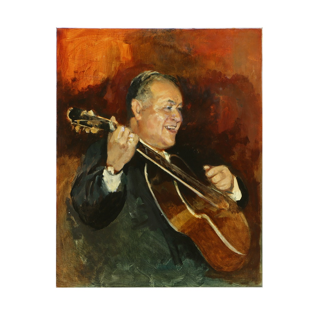 Oil Painting on Canvas Board of a Man with Guitar