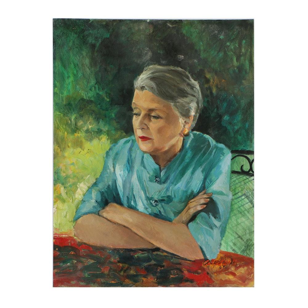Alexander Oil Portrait on Canvas Board of Older Woman