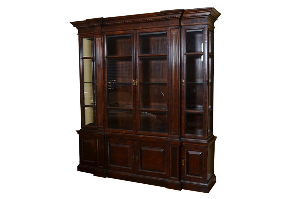 Mahogany China Cabinet with Fluted Columns