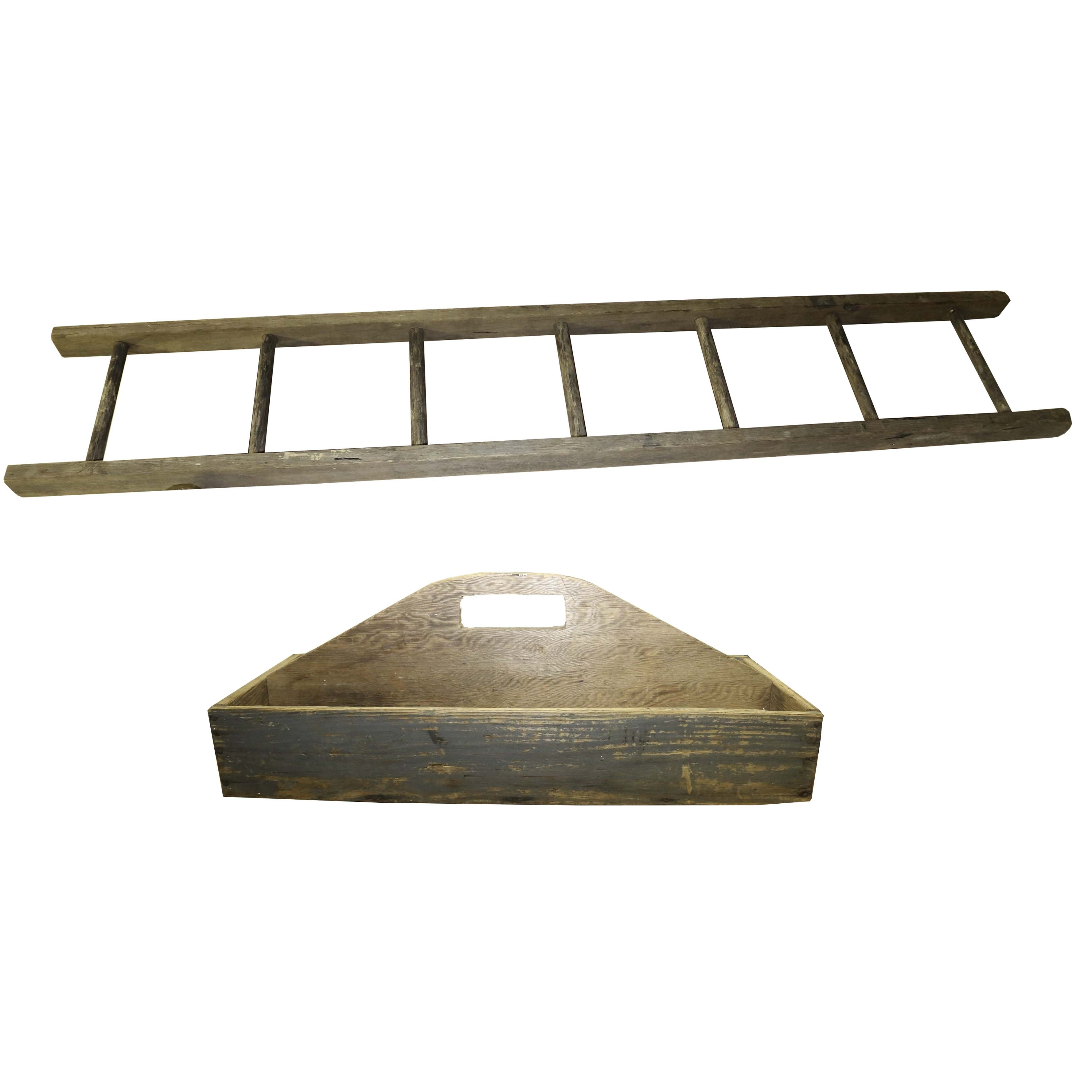 Antique Ladder and Tool Tray