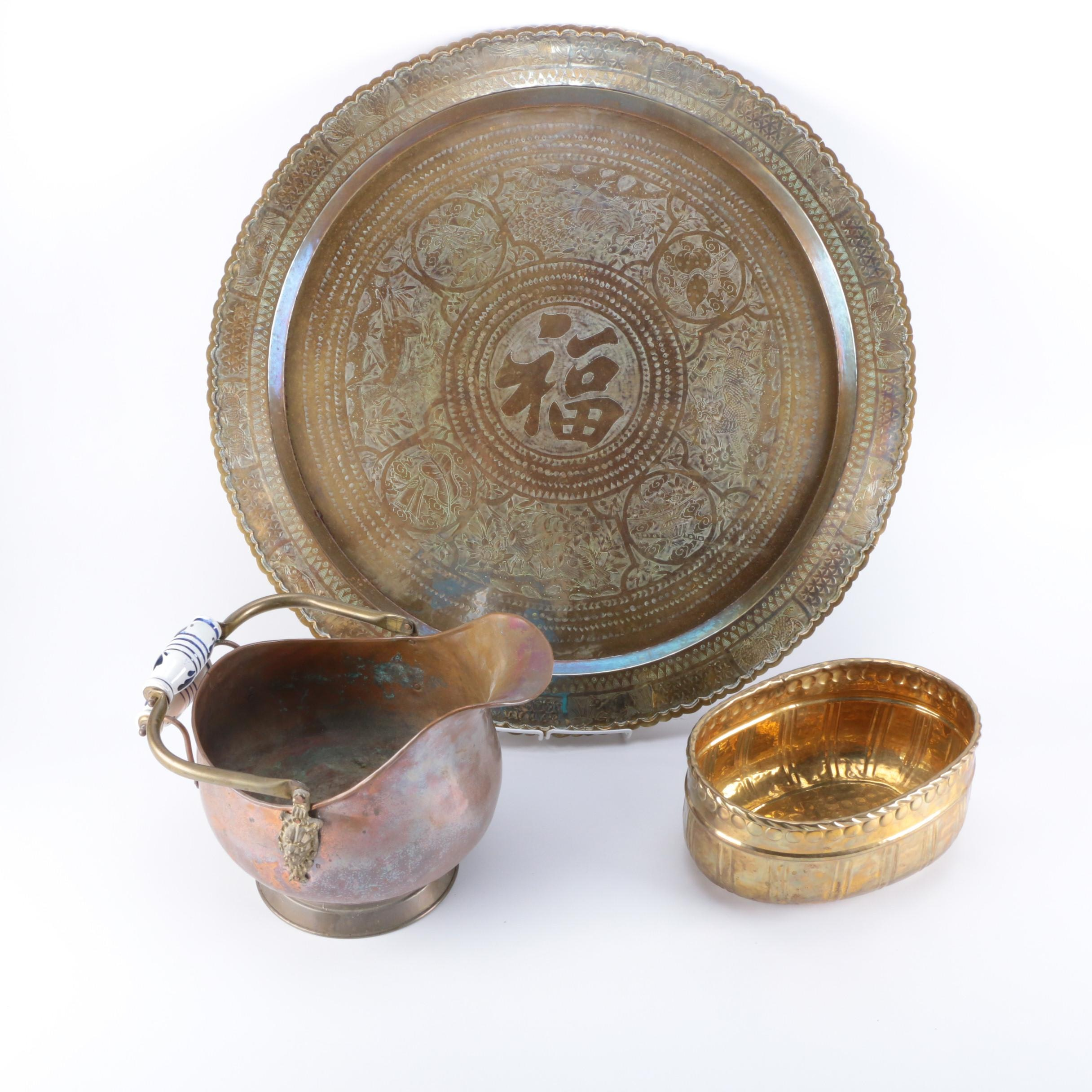 Asian Inspired Decor Including Copper Vessels