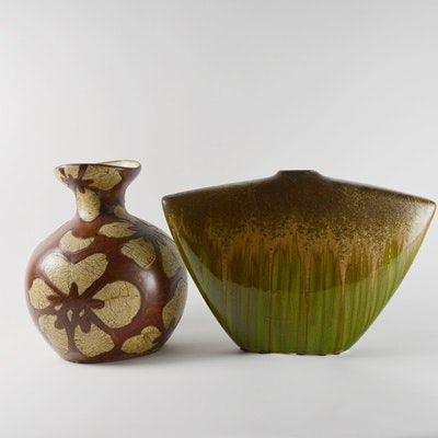 Two Brown Patterned Pottery Vases