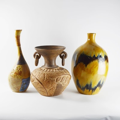 Three Earth Toned Patterned Pottery Vases