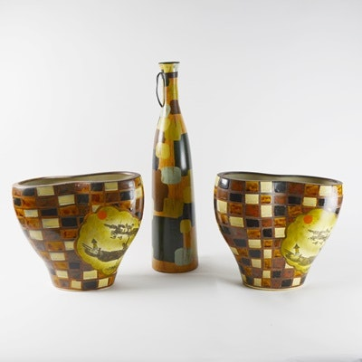 Three Patchwork Patterned Pottery Vases