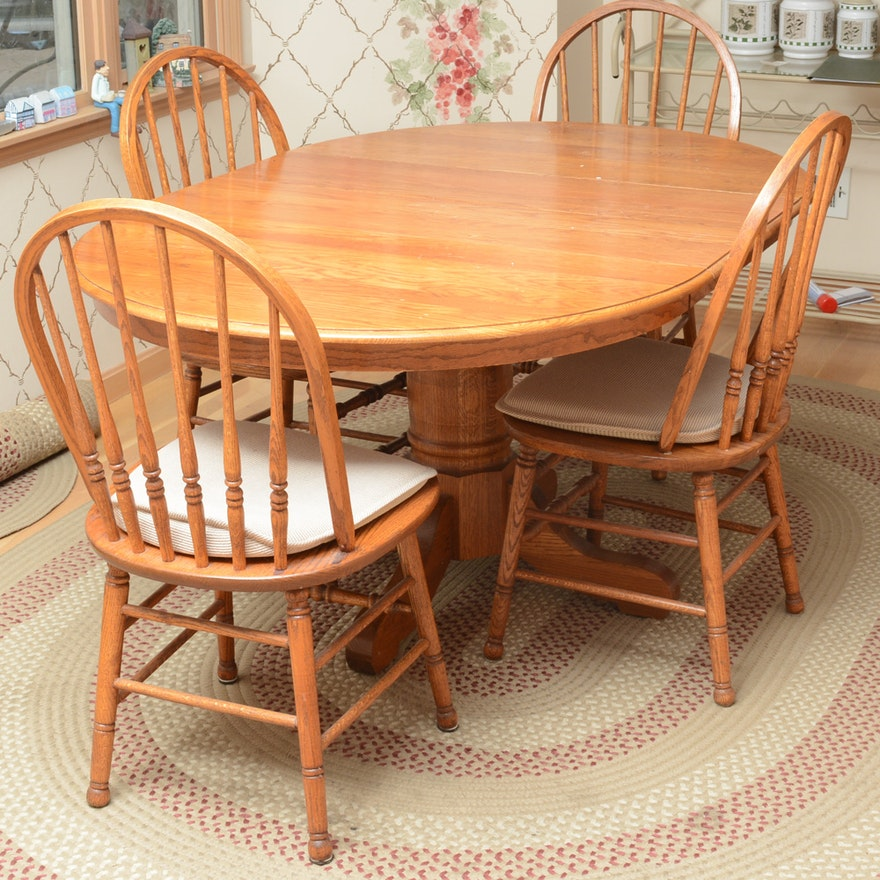 Country Dining Table With Bench: Country Oak Dining Table And Windsor Chairs