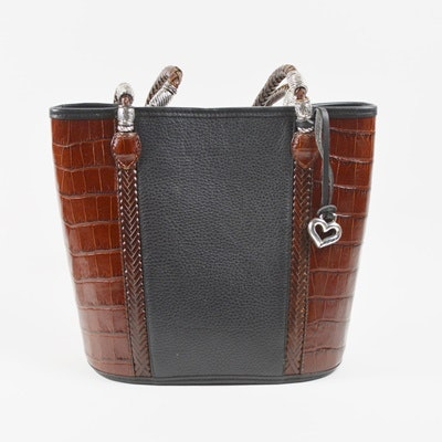 Brighton Black and Brown Crocodile Embossed Leather Shoulder Bag