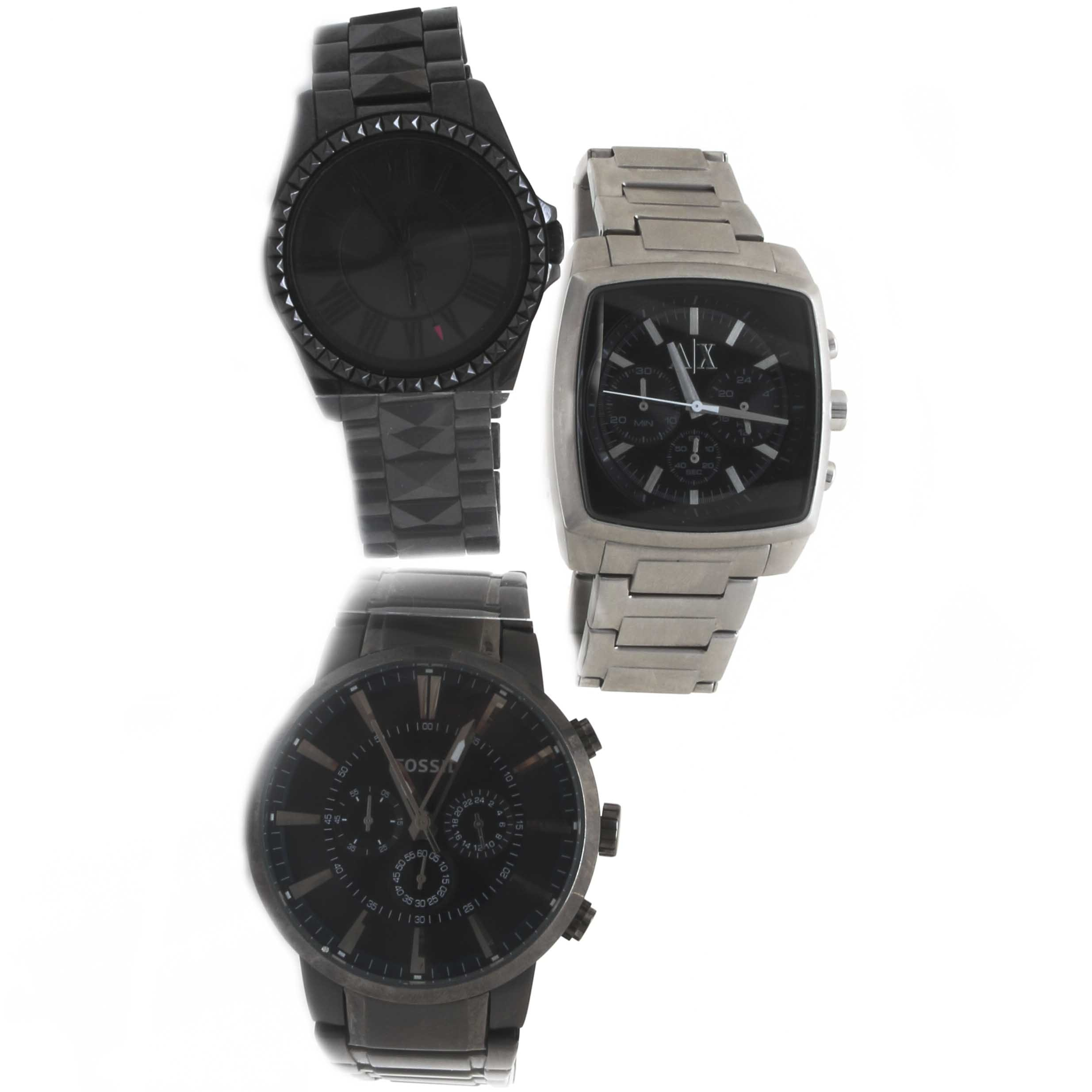 Stainless Steel Wristwatch Assortment Including Armani Exchange and Fossil