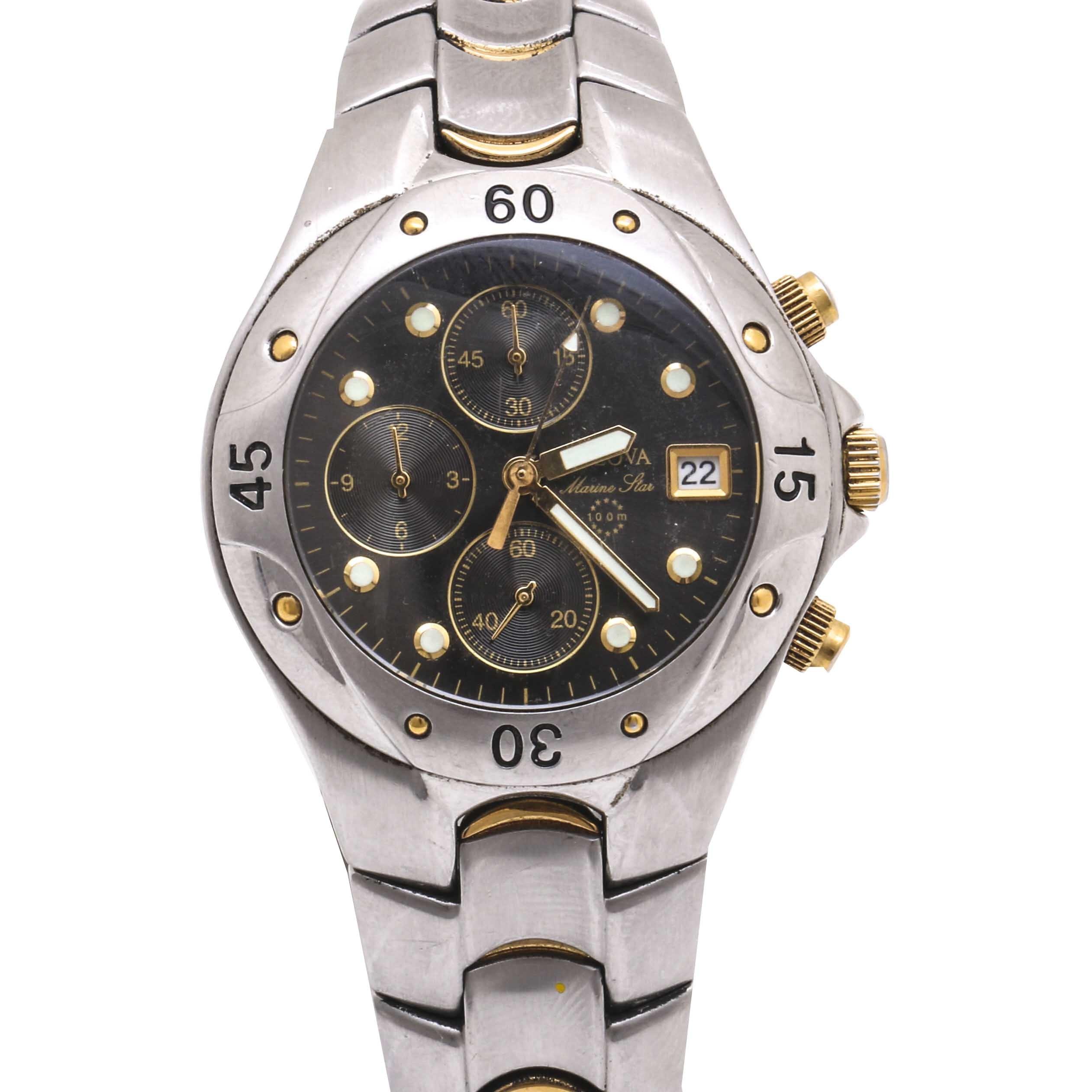 Bulova Two Tone Stainless Steel Marine Star Chronograph Wristwatch