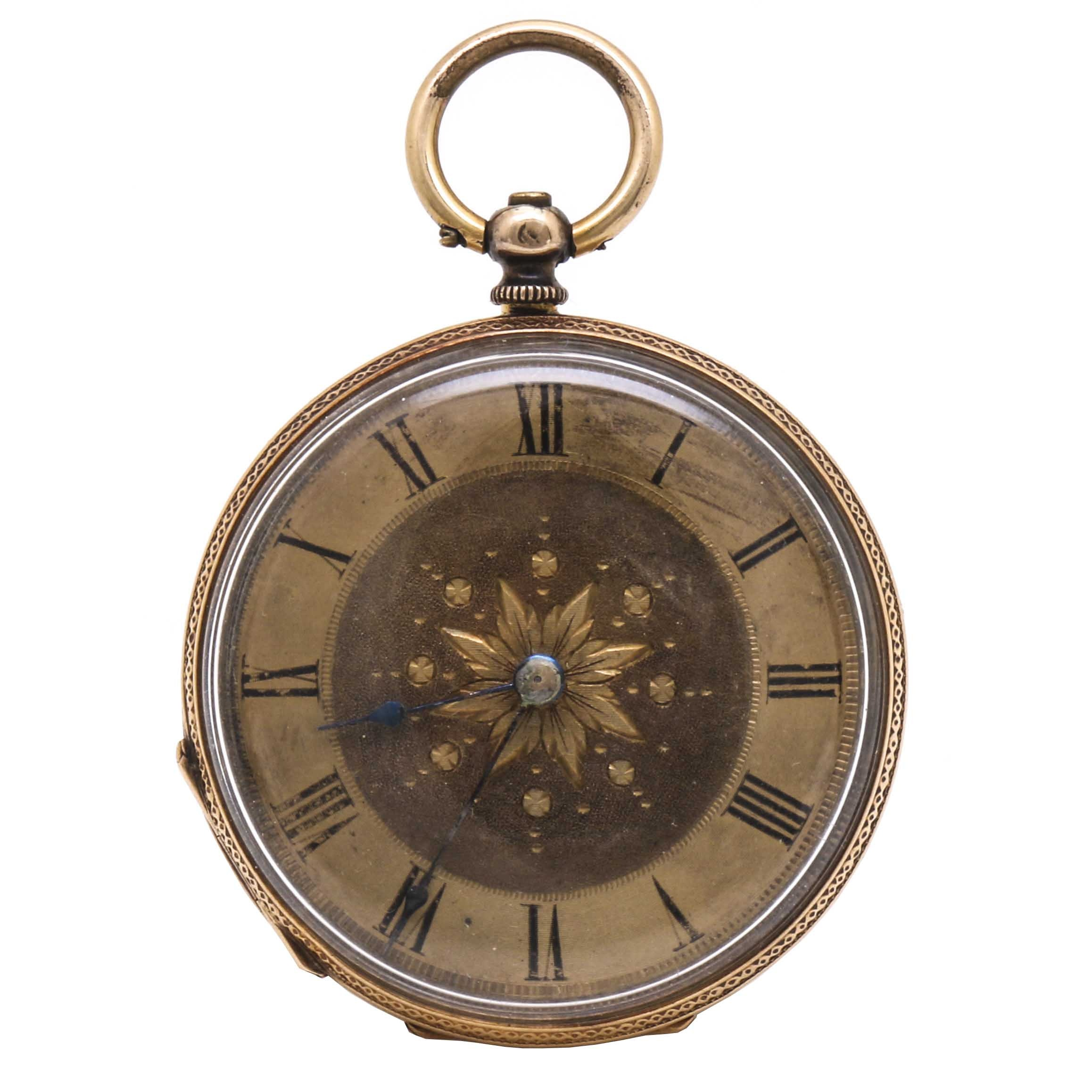 18K Yellow Gold Floral Pocket Watch
