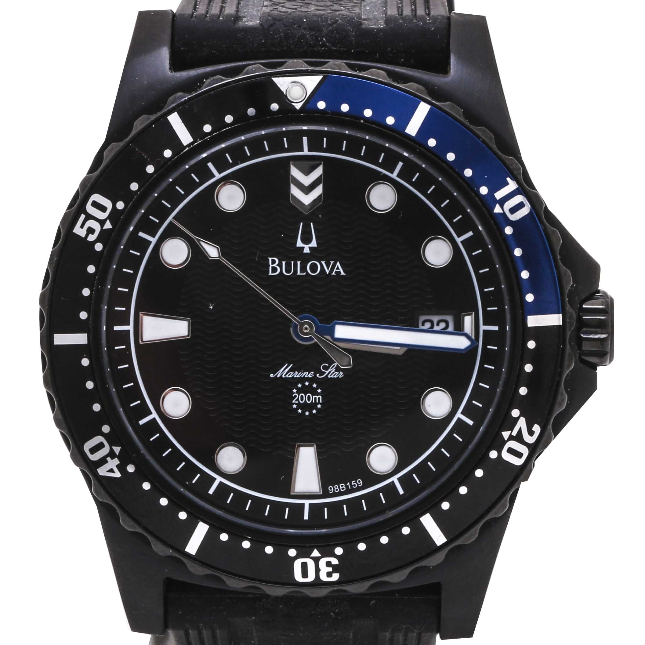 Bulova Marine Star Black Stainless Steel Wristwatch