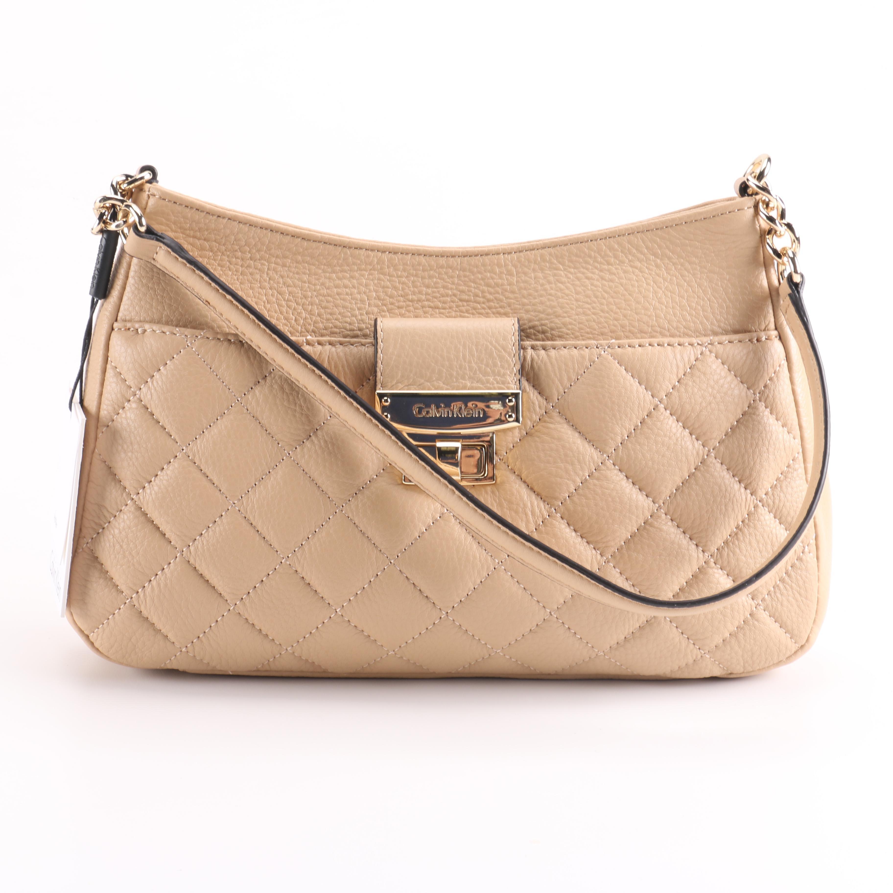 Calvin Klein Nude Leather Handbag