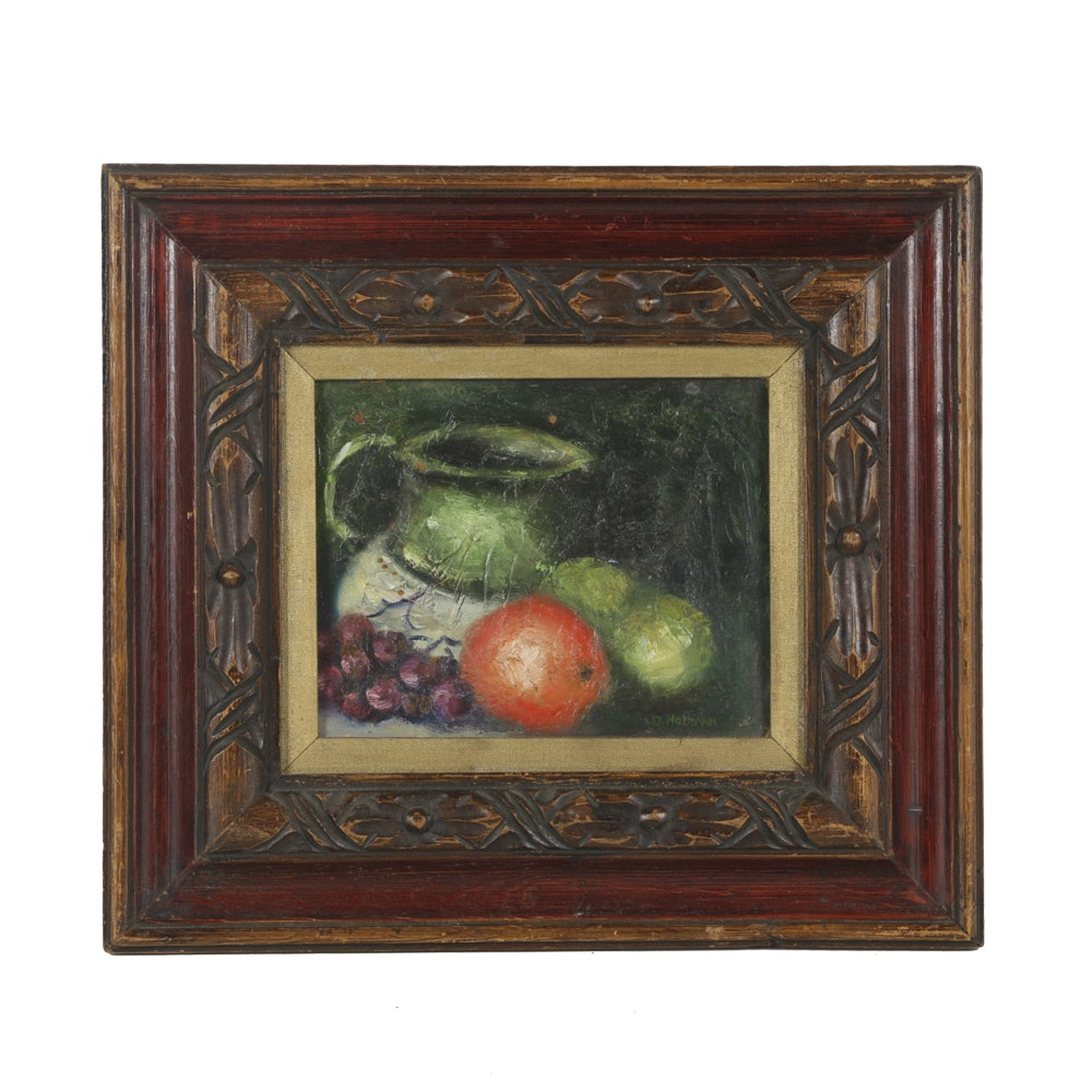 D. Hoffman Oil Painting on Canvas Board Still Life