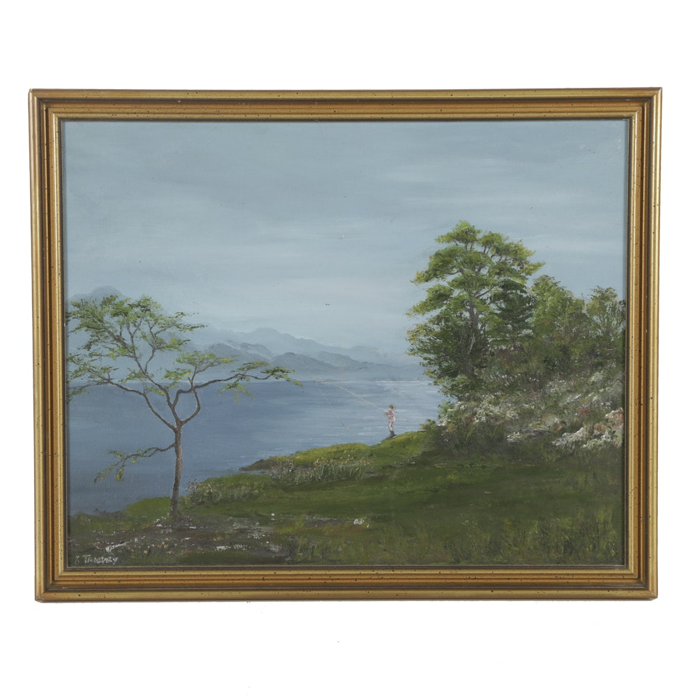 Oil Painting on Board Landscape with Fisherman
