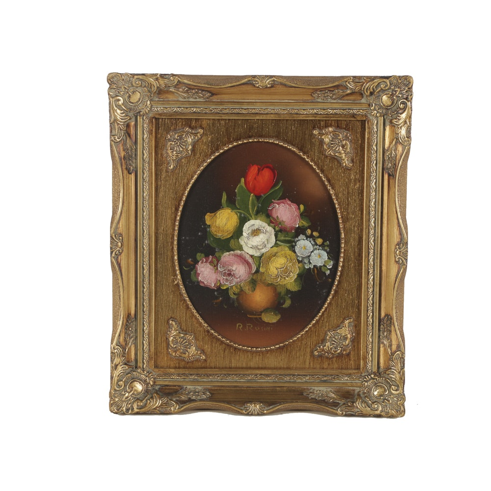 R. Rusini Oil Painting on Canvas of Floral Still Life
