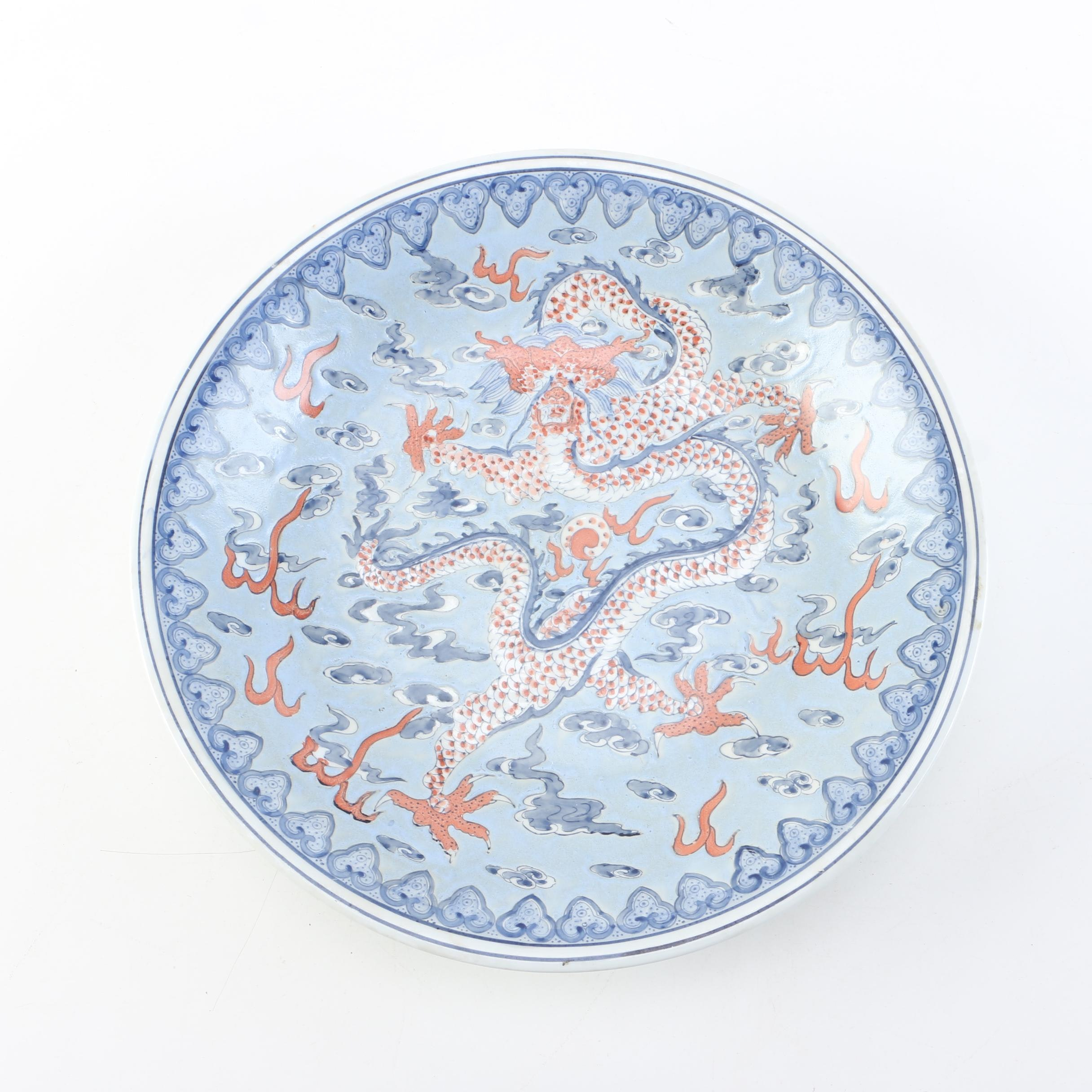 Dragon Painted Chinese Porcelain Charger