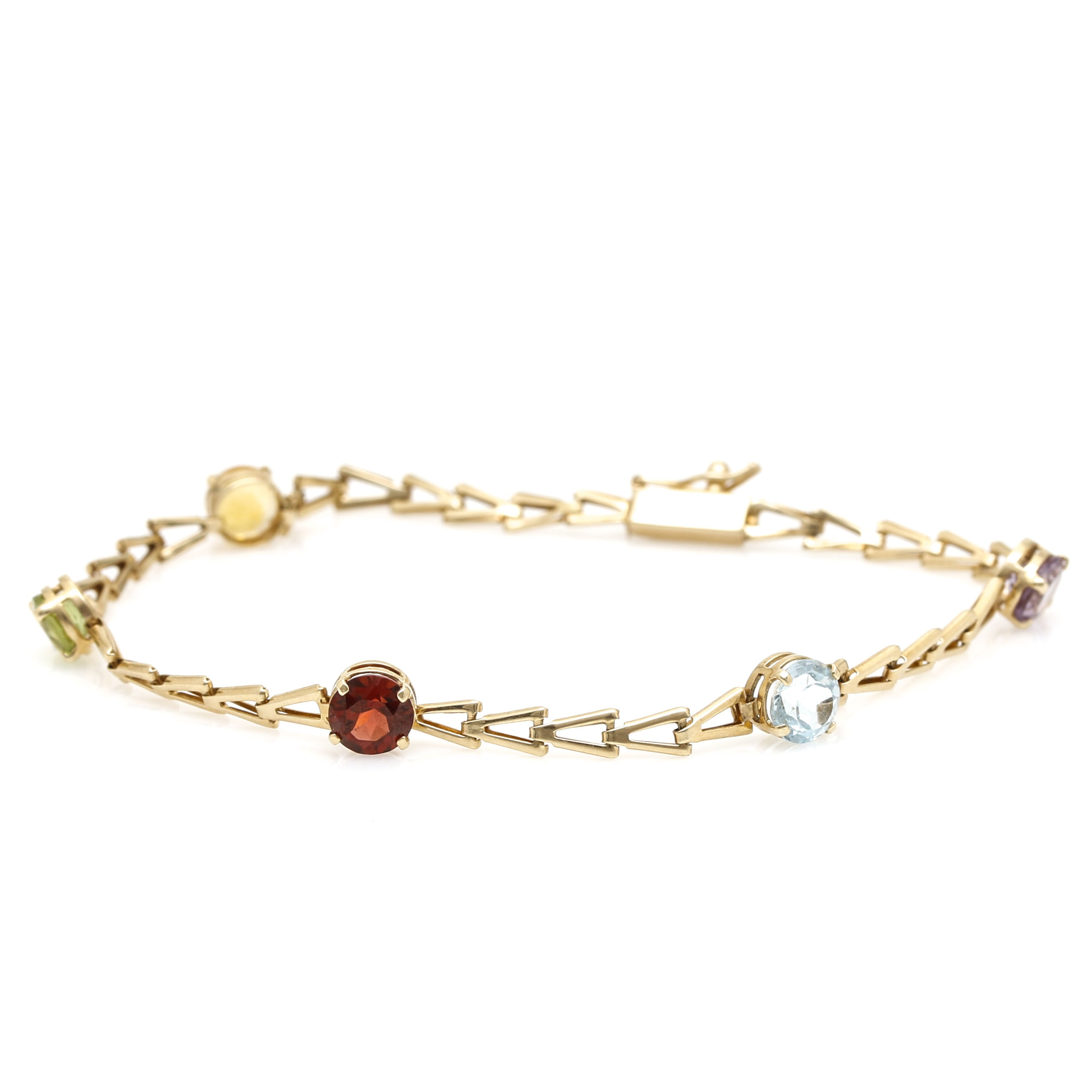 14K Yellow Gold Fancy Link Bracelet with Assorted Gemstones including Garnet