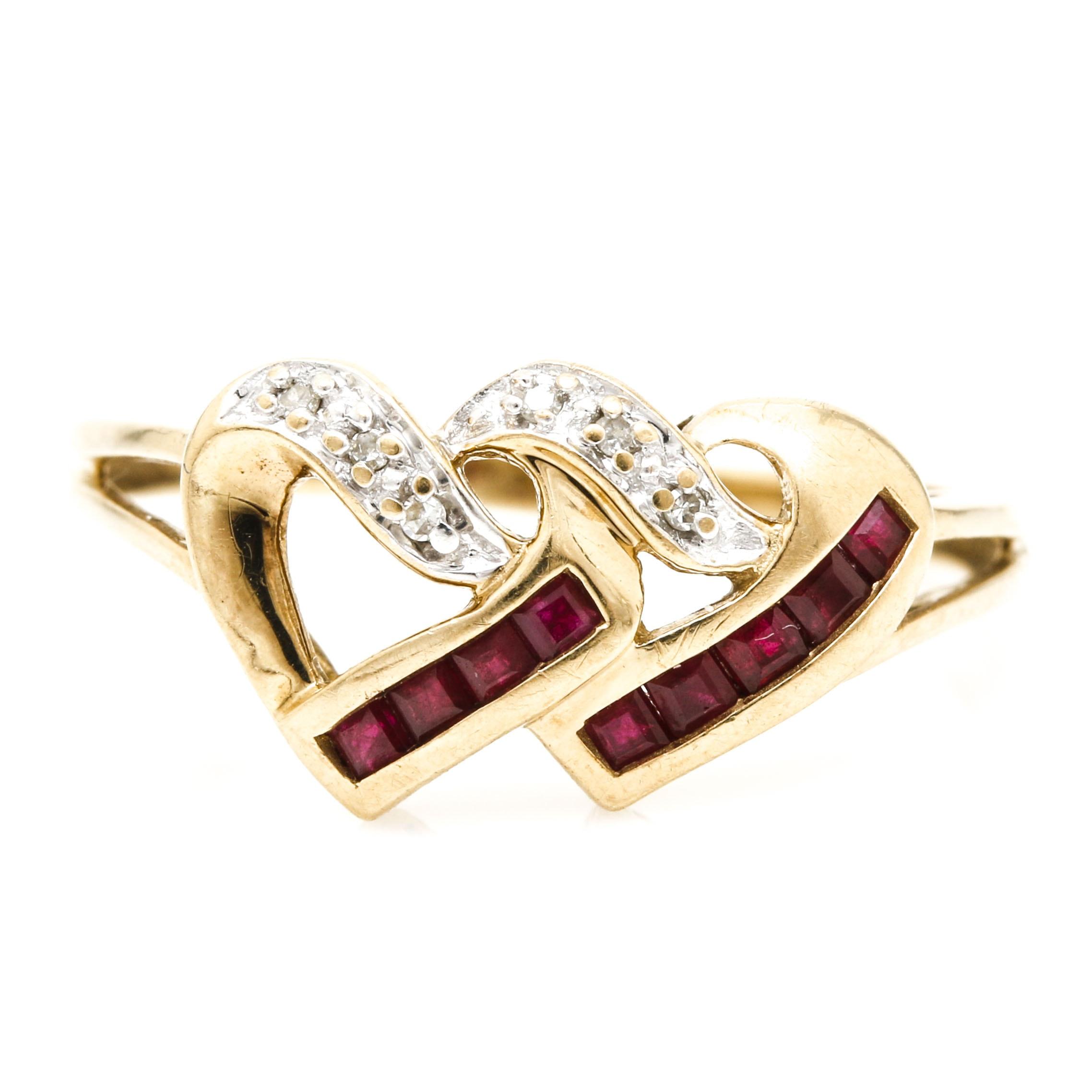 10K Yellow Gold Diamond and Ruby Interlocking Hearts Ring