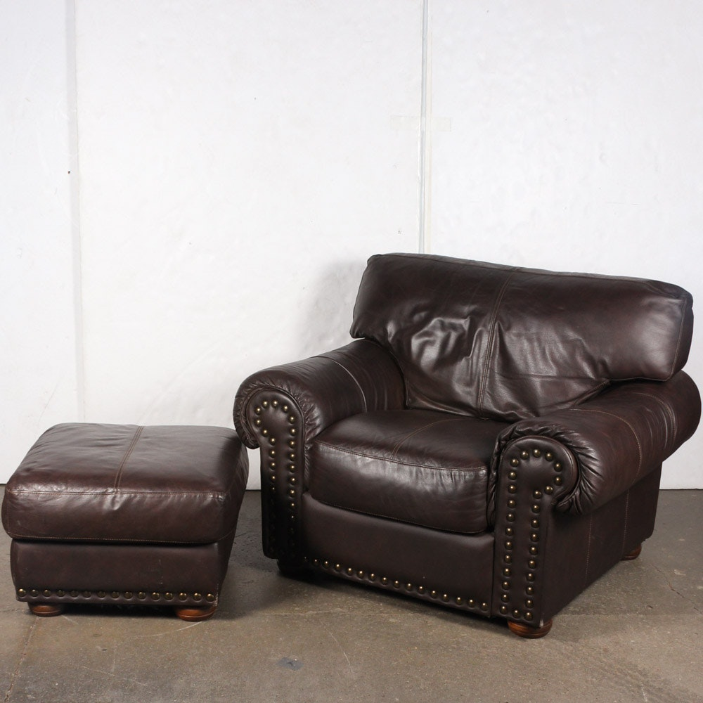 Contemporary Leather Armchair With Ottoman