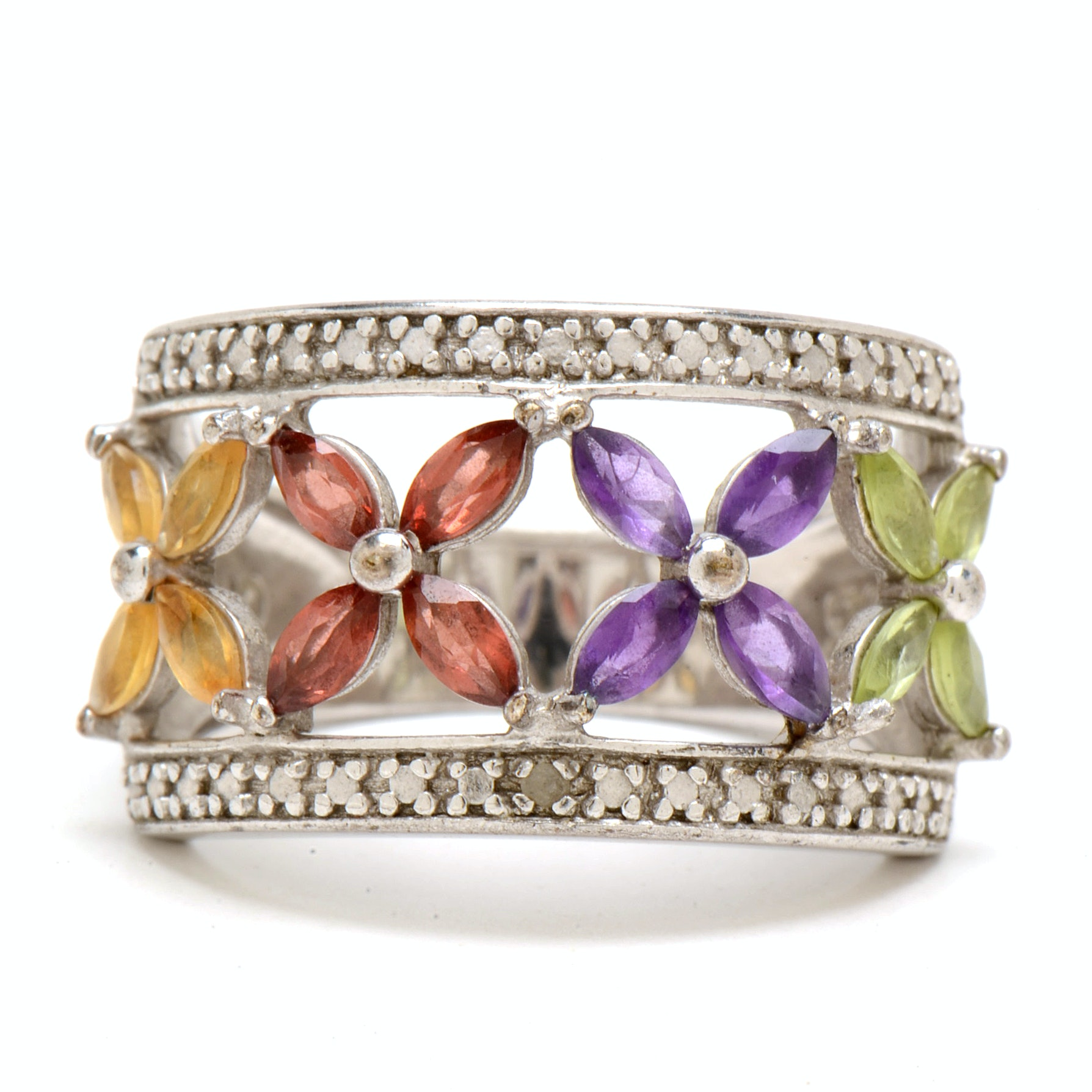 Sterling Silver Multiple Gemstone and Diamond Fashion Ring