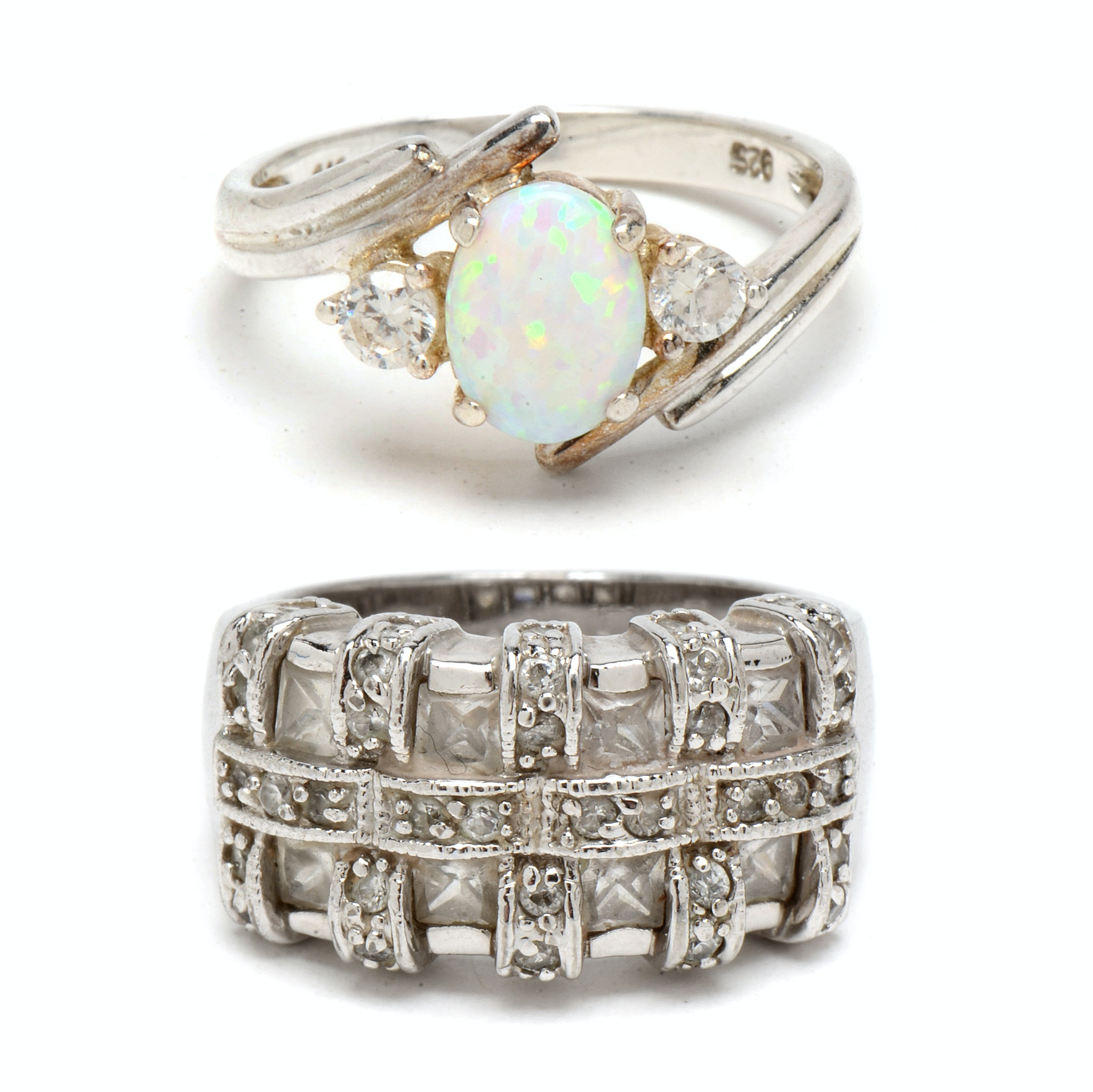 Pairing of Sterling Silver Rings with Synthetic Opals and CZs