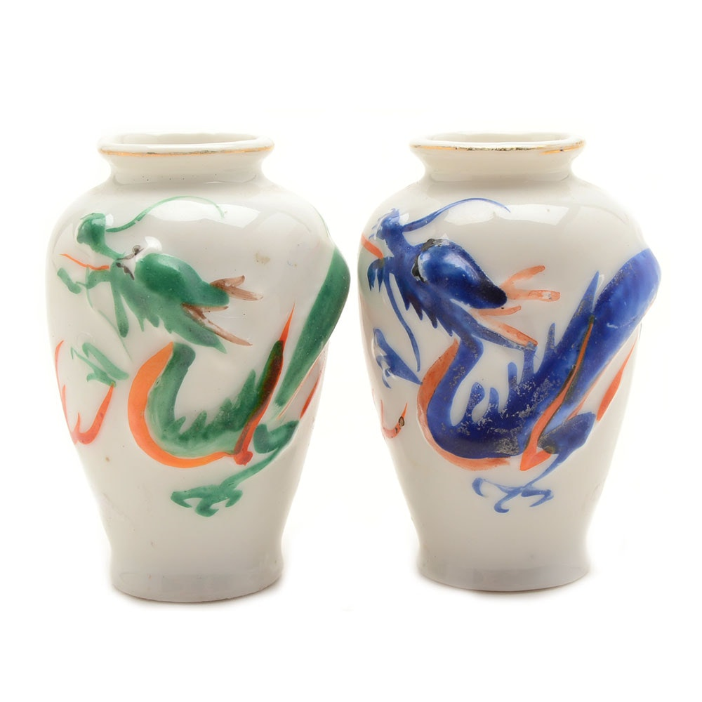 Occupied Japan Dragon Mini Vase Pair