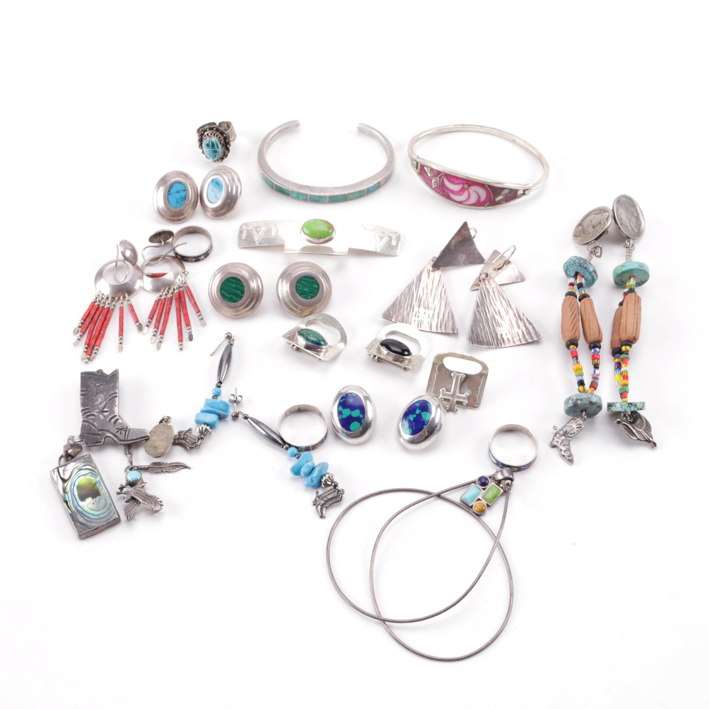 Southwestern Style Sterling and Silver Tone Jewelry With Gemstones Featuring Navajo Ben J. Chavez