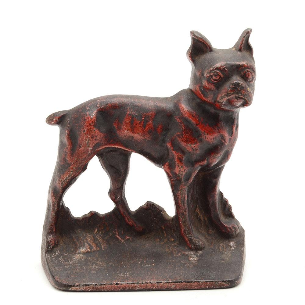 Single Boston Terrier Cast Iron Bookend
