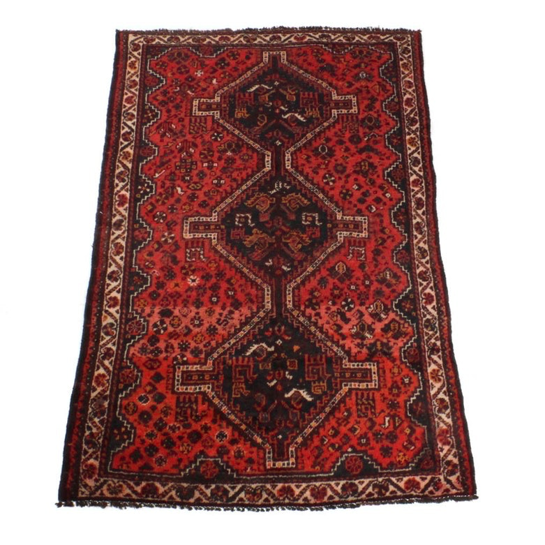 Antique Hand-Knotted Persian Shiraz Area Rug