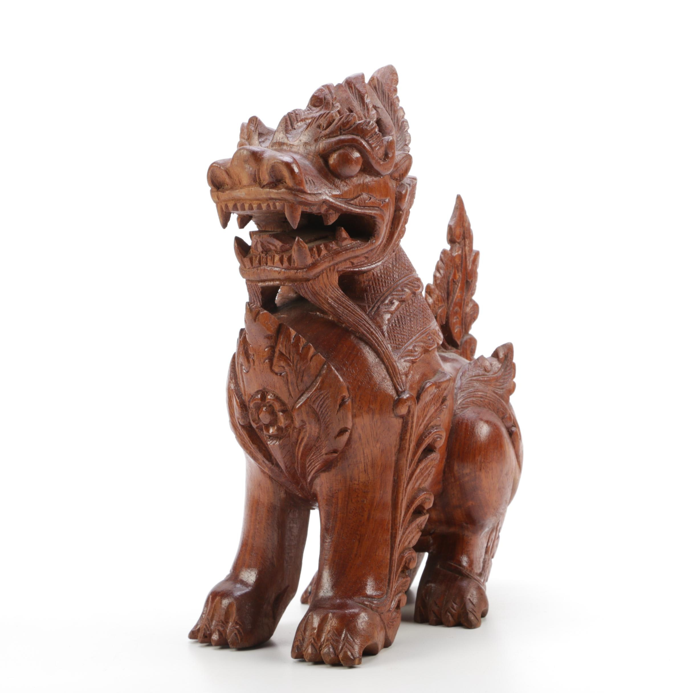 Carved Wood Guardian Lion