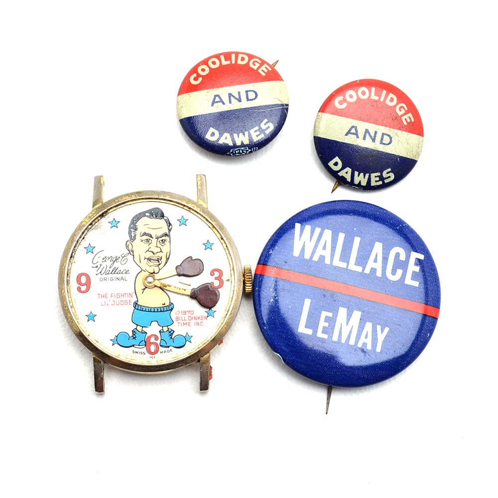 Collection of Political Pins and a Watch Face