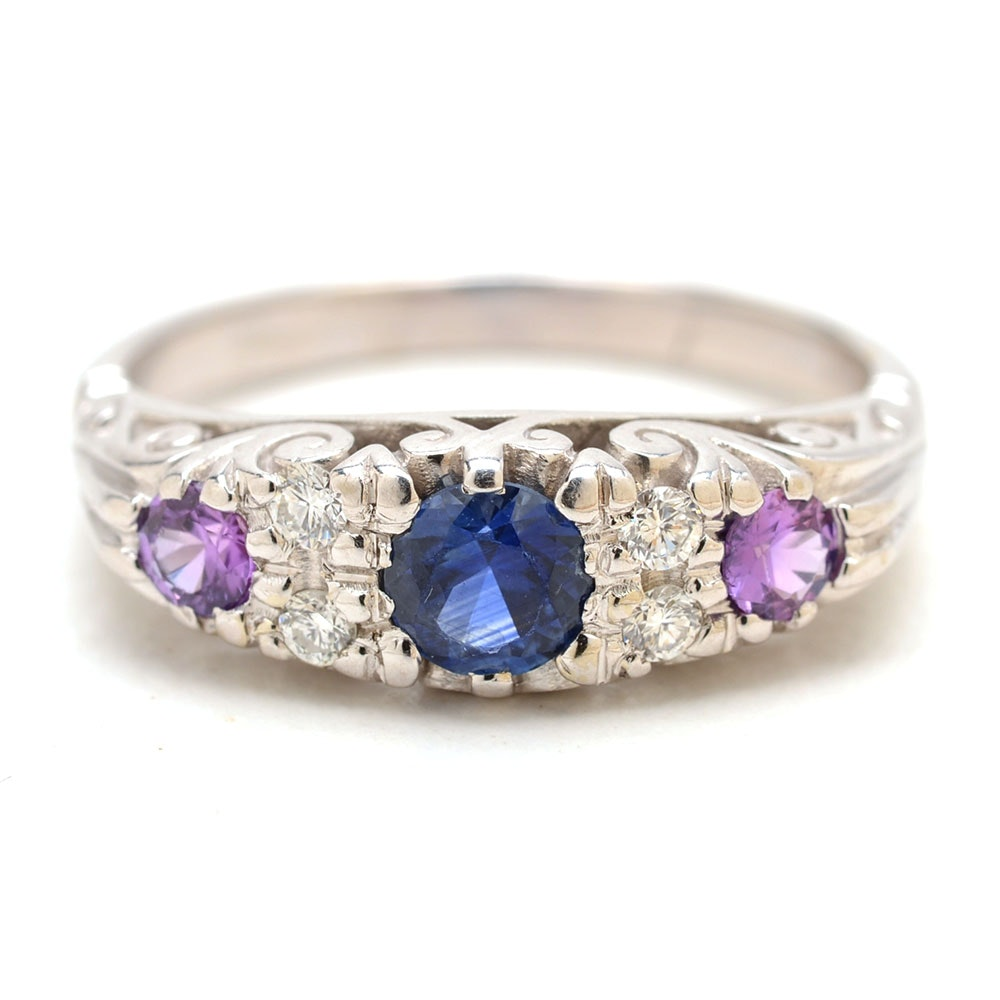 Vintage 14K White Gold Natural Blue and Pink/Purple Sapphire Diamond Ring