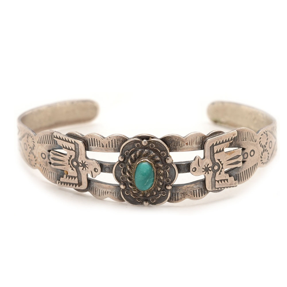Native American Style Sterling Silver Turquoise Cuff Bracelet