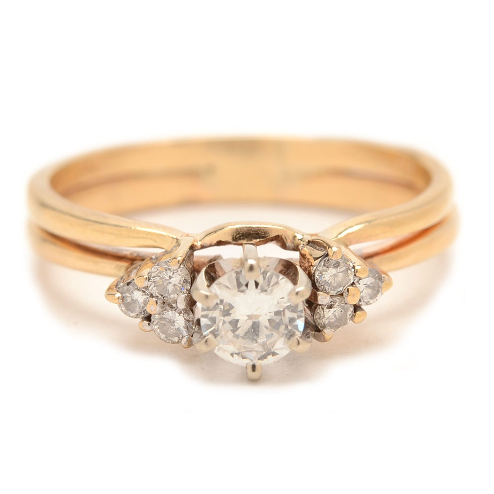 14K Yellow Gold Diamond Bridal Ring Set