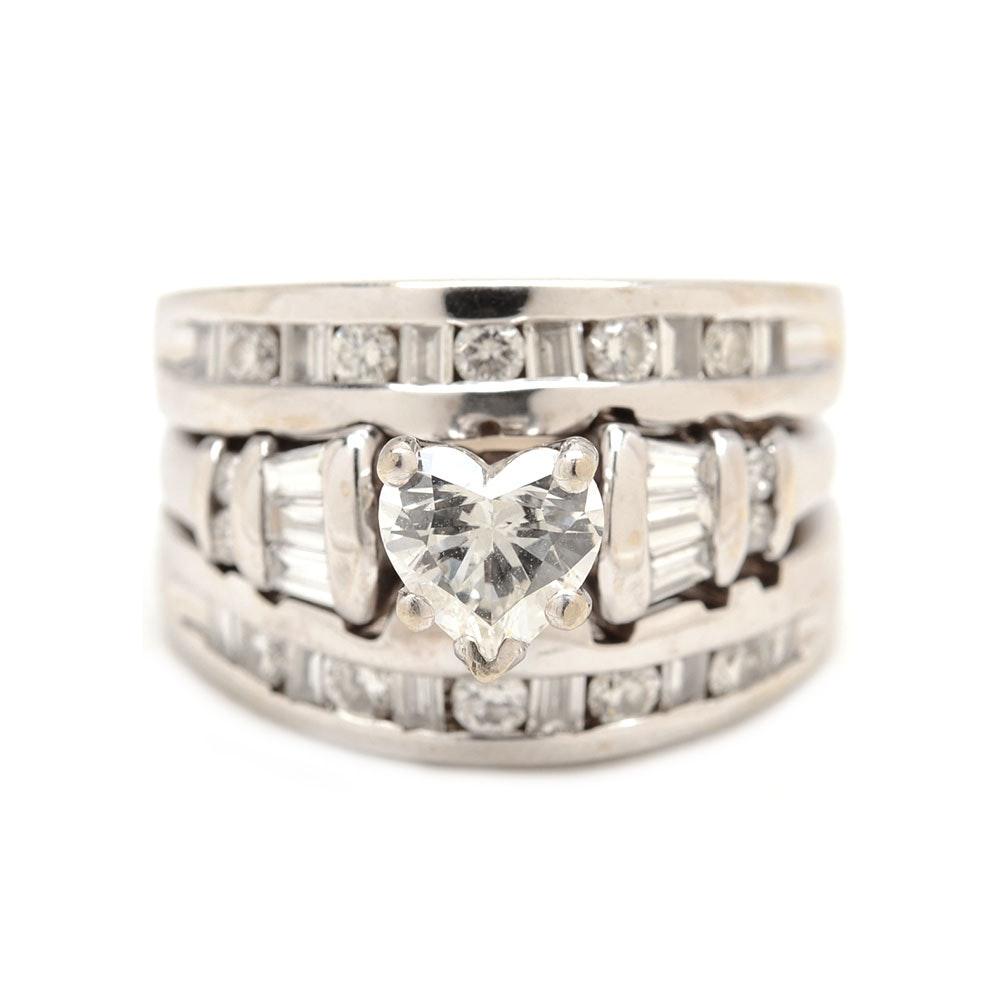 14K White Gold 1.47 CTW Diamond Bridal Ring Set