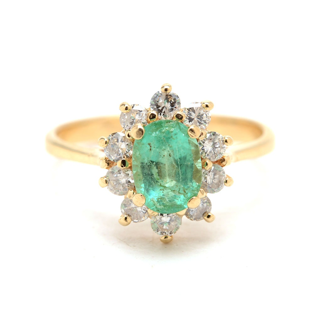 14K Yellow Gold Natural Emerald Diamond Floral Motif Ring