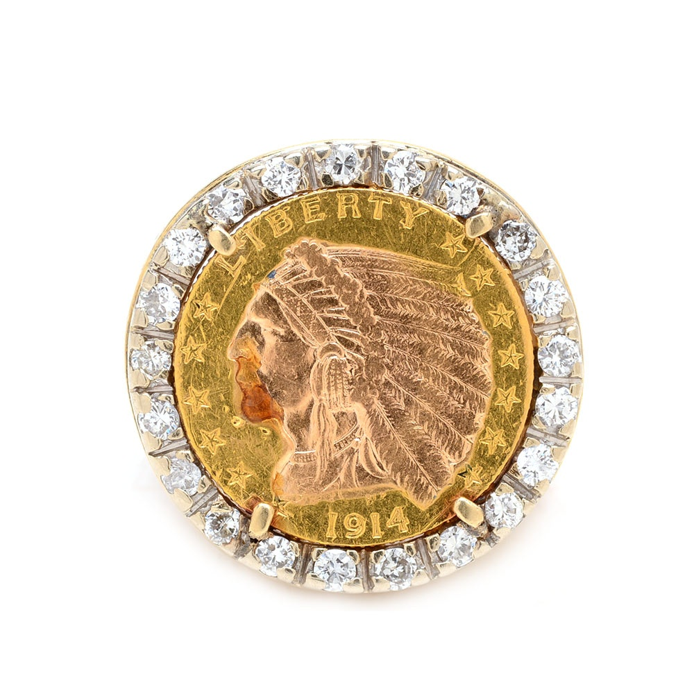 18K Yellow Gold 1914 $2.50 Indian Head 22K Gold Coin Diamond Ring