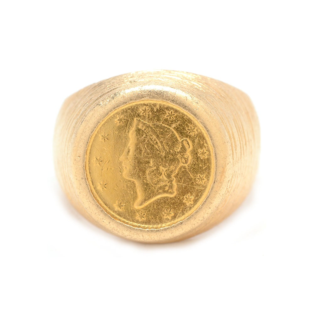 14K Yellow Gold 1849 $1 Open Wreath Liberty Head 22K Gold Coin Ring