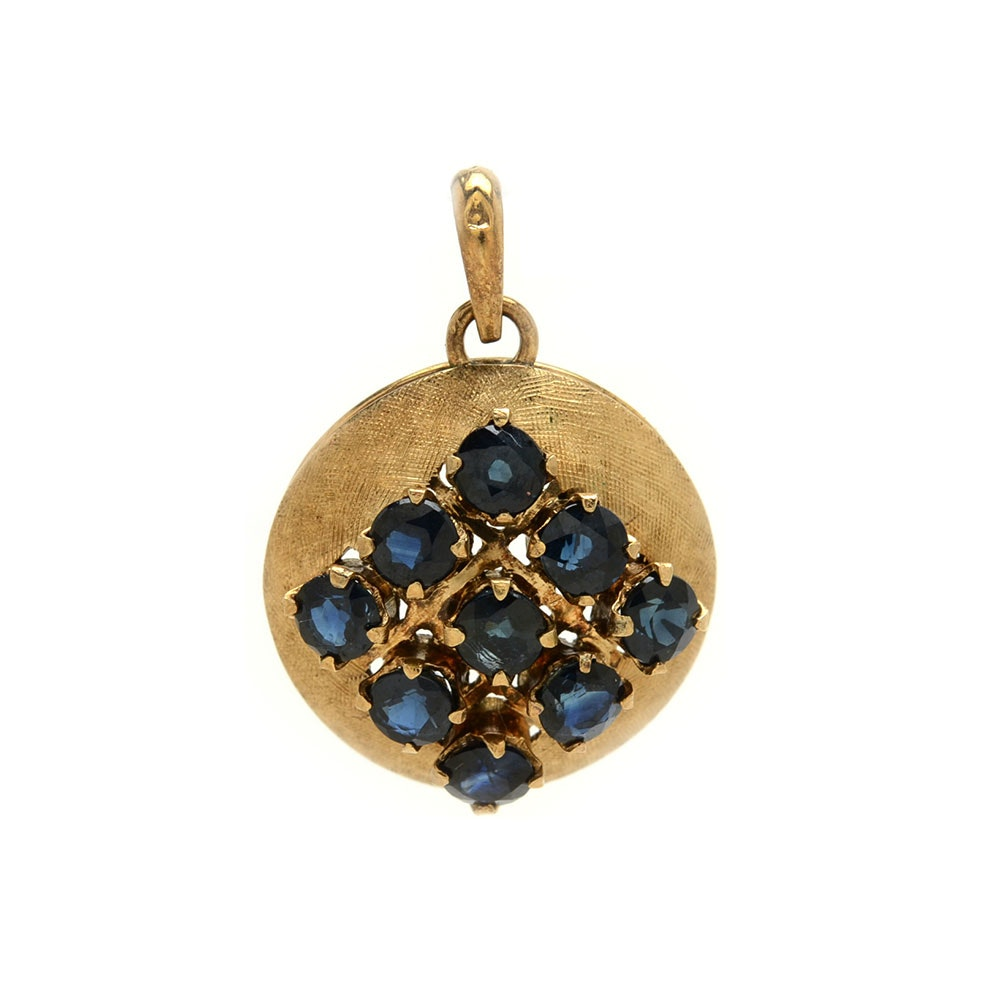 14K Yellow Gold Natural Blue Sapphire Round Pendant