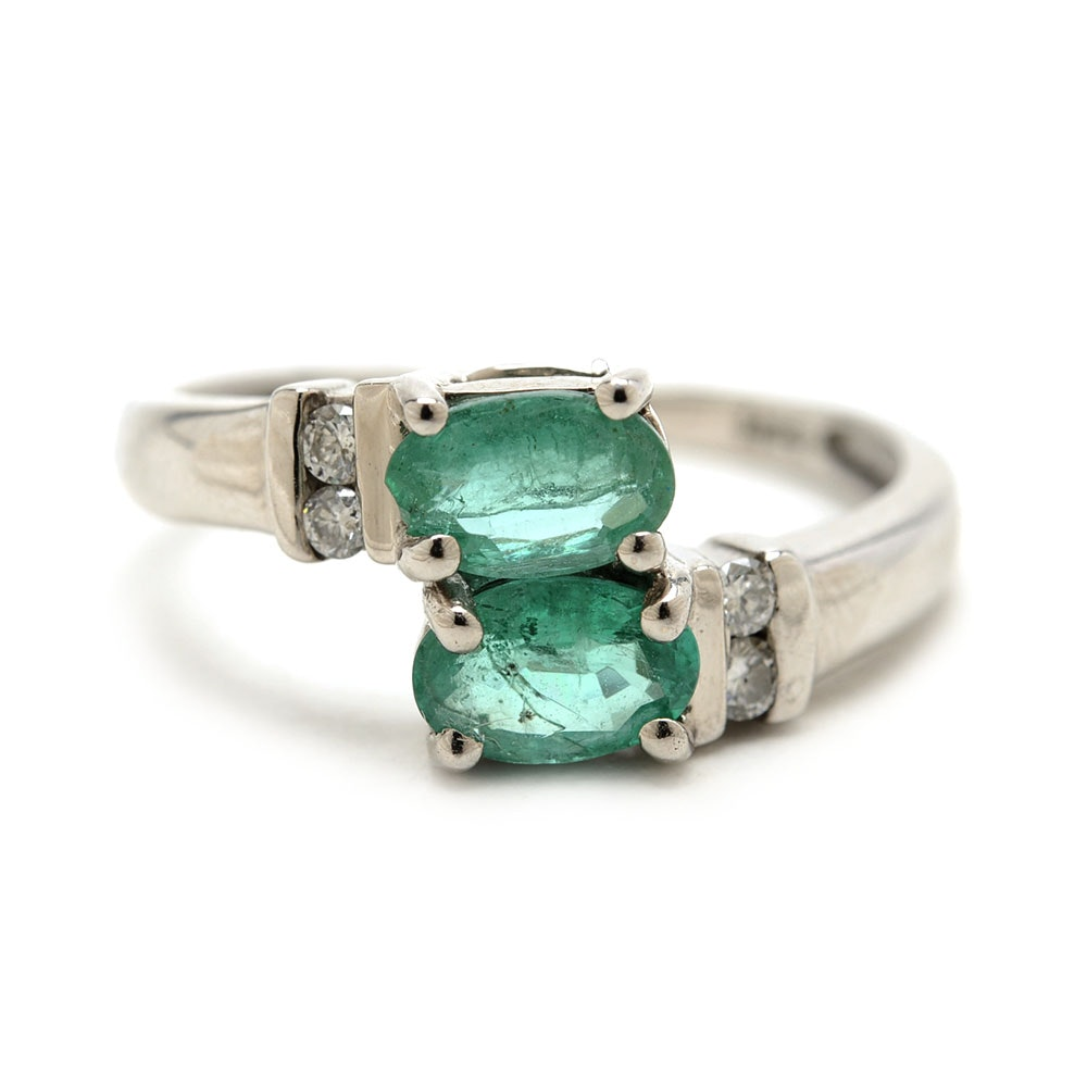 14K White Gold Natural Emerald Diamond Bypass Ring