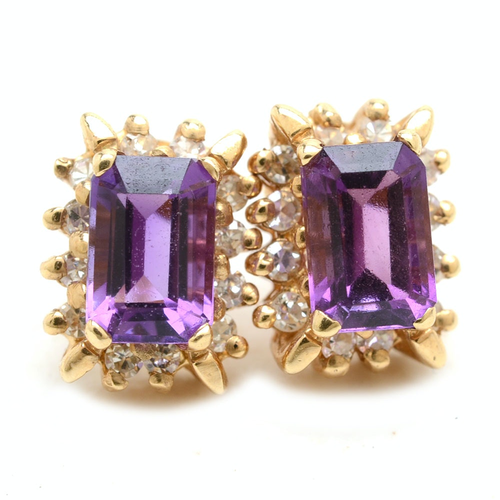 Pair of 14K Yellow Gold Amethyst Diamond Stud Earrings