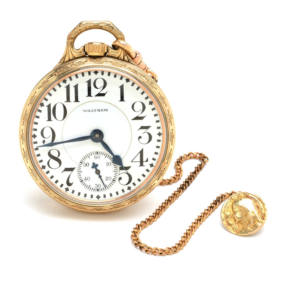 Vintage Waltham Pocket Watch with Fob Chain