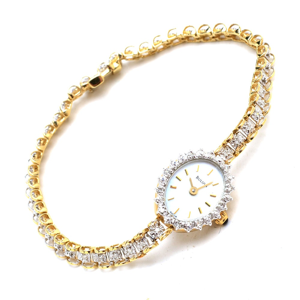 Bulova 14K Yellow Gold Diamond Fashion Wristwatch